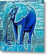 Blue Elephant Metal Print