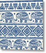 Blue Elephant With Ornaments Design Metal Print