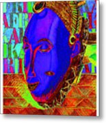 Blue Faced Mask Metal Print