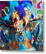 Blue Feather Carnival Costume And Colorful Background Horizontal Metal Print