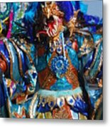 Blue Feather Carnival Costume Full Metal Print