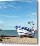 Blue Fishing Boat Metal Print