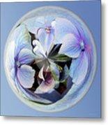 Blue Flower Orb Metal Print