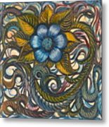Blue Flower With Yellow Leaves  Metal Print
