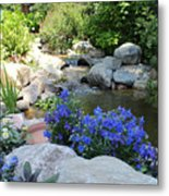 Blue Flowers And Stream Metal Print