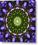 Blue Flowers Kaleidoscope Metal Print