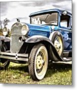 Blue Ford Model A Car Metal Print