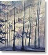 Blue Forest In Winter Metal Print