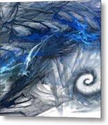 Blue Fractal Storm Metal Print