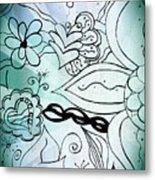 Blue Funky Flower Doodles Metal Print