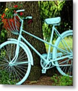 Blue Garden Bicycle Metal Print