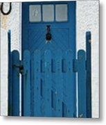 Blue Gate And Door On White House Metal Print
