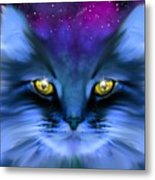 Blue Ghost Cat Metal Print