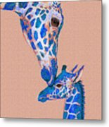 Blue Giraffes 2 Metal Print