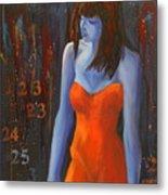 Blue Girl In Red Dress Metal Print by Lynn Chatman
