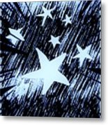 Blue Glow Starry Abstract Metal Print