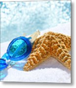 Blue Goggles On A White Towel  Metal Print by Sandra Cunningham