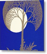 Blue Gold Moon Metal Print