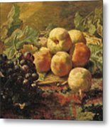Blue Grapes And Peaches In A Wicker Basket Metal Print