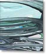 Blue Gray Brush Strokes Abstract Art For Interior Decor V Metal Print