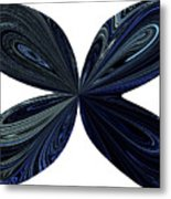 Blue, Green And Black Butterfly Astract Metal Print
