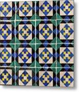 Blue Green Lisbon Tiles Souvenirs Metal Print