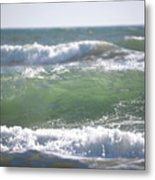 Blue Green Waves Metal Print
