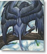 Blue Griffin Metal Print