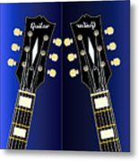 Blue Guitar Reflections Metal Print