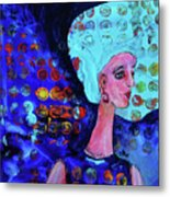 Blue Haired Girl On Windy Day Metal Print