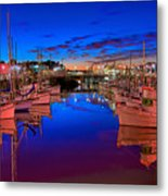 Blue Harbor Red Neon Metal Print