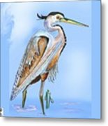 Blue Heron In The Mist Metal Print
