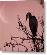 The Heron And The Moon Metal Print