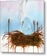 Blue Heron Nesting Metal Print