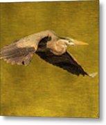 Blue Heron On Gold Metal Print