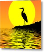 Blue Heron Sunset Metal Print