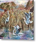 Blue Herons And Cats Metal Print