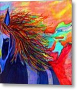Blue Horse In Red Canyon Metal Print