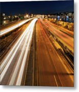 Blue Hour Freeway Light Trails Metal Print