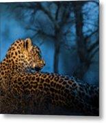 Blue Hour Leopard Metal Print