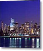 Blue Hour Panorama New York World Trade Center With Freedom Tower From Liberty State Park Metal Print