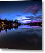 Blue Hour Reflected Metal Print