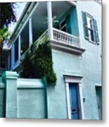 Blue House With A Blue Door Metal Print