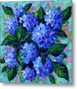Blue Hydrangeas - Abstract Floral Composition Metal Print