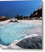 Blue Ice Sheet - Lake Hiayaha Metal Print