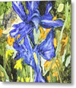 Blue Iris Painting Metal Print