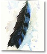 Blue Jay Feather Splash Metal Print by Brandy Woods