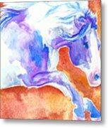 Blue Jumping Paint Metal Print