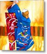 Blue Kimono 2 Metal Print