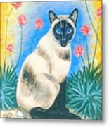 Blue Kitty Metal Print